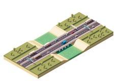 Vector isometric bridge Royalty Free Stock Images