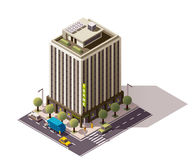 Vector isometric building. Isometric icon representing building with bank office Royalty Free Stock Images