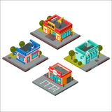 Vector isometric buildings illustration. Stock Photography