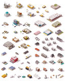 Vector isometric buildings set. Big set of the isometric buildings Stock Image