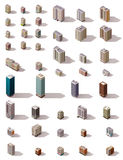 Vector isometric buildings set. Big set of the isometric town buildings Royalty Free Stock Photos