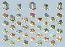 Vector isometric buildings set. Isolated on blue background. Isometric image of a private house set Stock Photos