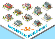 Vector isometric buildings set. Isolated on white background Stock Photo