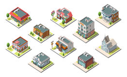 Vector isometric buildings set. Isolated on white background Stock Images