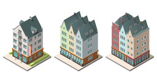 Vector isometric buildings set.. Isolated on white background. Included hotel, old residential building Stock Images