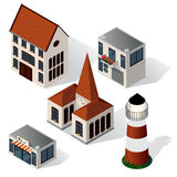 Vector isometric buildings set. Royalty Free Stock Photos