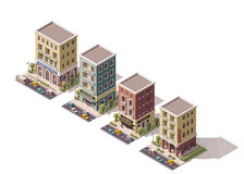 Vector isometric buildings set Stock Photo