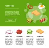 Vector isometric burger illustration banner for web vector illustration