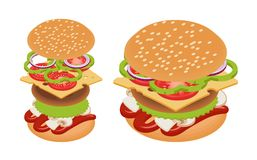 Vector isometric burger Stock Photography