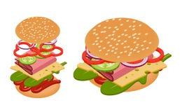 Vector isometric burger Stock Photos
