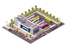Vector isometric bus station Stock Photo