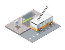 Vector isometric bus station with ticket sell terminal, trolleybus Royalty Free Stock Photography