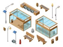 Vector isometric bus stop concept objects set. 3d city glass station benches sun panel streetlights garbage can, trash bin, fire hydrant. Illustration with Stock Photos