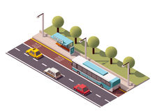 Vector isometric bus stop. Isometric icon representing bus stop Royalty Free Stock Photo
