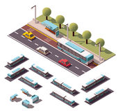 Vector isometric buses set Stock Images