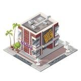 Vector isometric butique building. Vector isometric cafe shop building icon Stock Photos