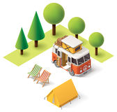 Vector isometric camper travel icon Royalty Free Stock Photo