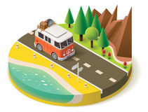 Vector isometric camper travel icon 2 Stock Images