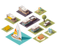 Vector isometric camping icons Stock Photos