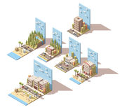 Vector isometric car travel illustrations Royalty Free Stock Images
