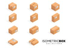 Vector isometric cardboard boxes. Box cardboard, box package, box packaging, box icon, box isolated illustration. A amazing design of Vector isometric cardboard stock illustration