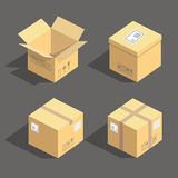 Vector isometric cardboard boxes packaging icons isolated illustration Royalty Free Stock Images