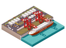Vector isometric cargo port. Isometric cargo port with cranes and container ship Royalty Free Stock Photos
