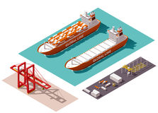 Vector isometric cargo port elements. Isometric cargo port machines and equipment Royalty Free Stock Images