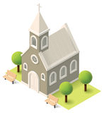 Vector isometric church. Building icon Stock Images