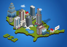 Vector isometric city Stock Photos