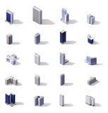 Vector isometric city buildings icon set Stock Photo
