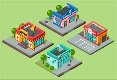 Vector isometric city buildings kiosk convenience store supermarket. Barbershop, pharmacy, beauty salon, fitness gym and. Shop supermarket mall center business royalty free illustration