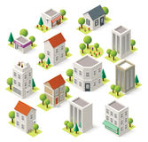 Vector isometric city buildings set Stock Photos