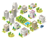 Vector isometric city buildings set Stock Photo