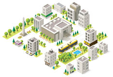 Vector isometric city buildings set Stock Image