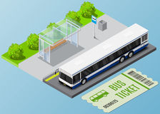 Vector isometric city bus illustration with ticket. Transport Icon. Royalty Free Stock Photos