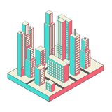Vector isometric city center on the map with lots Stock Photos