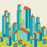 Vector isometric city center on the map with lots of buildings Royalty Free Stock Images