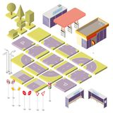 Vector isometric city constructor with 3d elements. Vector set with isometric elements to build your own city map. Cityscape constructor isolated on background Royalty Free Stock Images