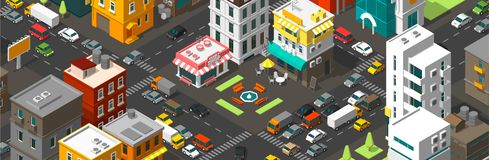 Vector isometric city horizontal banner. Cartoon town district. Street Intersection road 3d. Very high detail projection. A lot of cars end buildings top view royalty free illustration