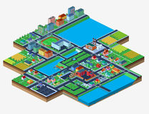 Vector isometric city isolated on white with lots of buildings Royalty Free Stock Photo