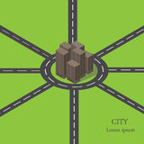 Vector isometric city ring road. Royalty Free Stock Photos