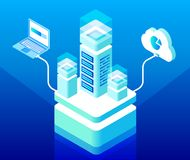 Vector isometric cloud computing and data storage royalty free illustration
