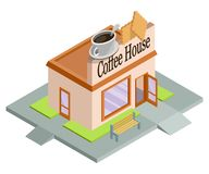 Vector isometric coffee house. Facade of coffee house isolated on white background. Street coffee house. Freshly brewed coffee. Cafe emblem. Vector graphics to vector illustration