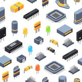 Vector isometric microchips and electronic parts icons pattern or background illustration royalty free illustration