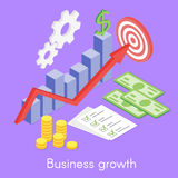 Vector isometric concept for business growth, money. And list of goals. Statistical diagram. Business success Stock Photos