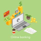 Vector isometric concept for online banking, credit card, money Royalty Free Stock Images