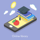Vector isometric concept for online library Royalty Free Stock Photography