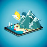 Vector isometric concept of weather forecast program on tablet P Royalty Free Stock Photography