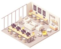 Vector isometric coworking open space royalty free illustration